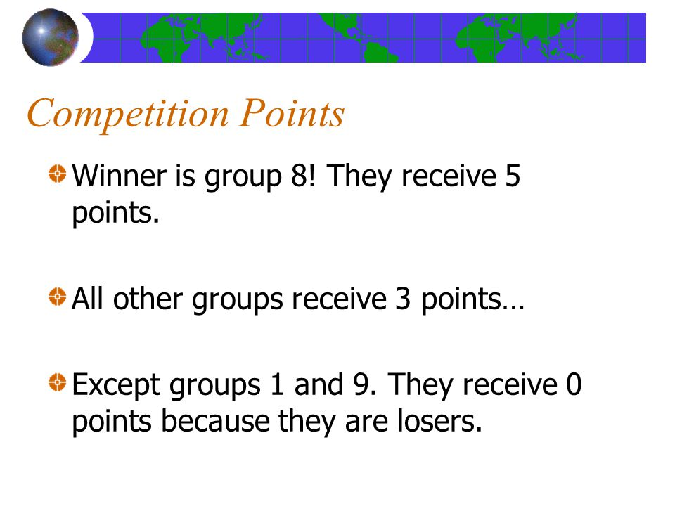 Competition Points Winner is group 8. They receive 5 points.