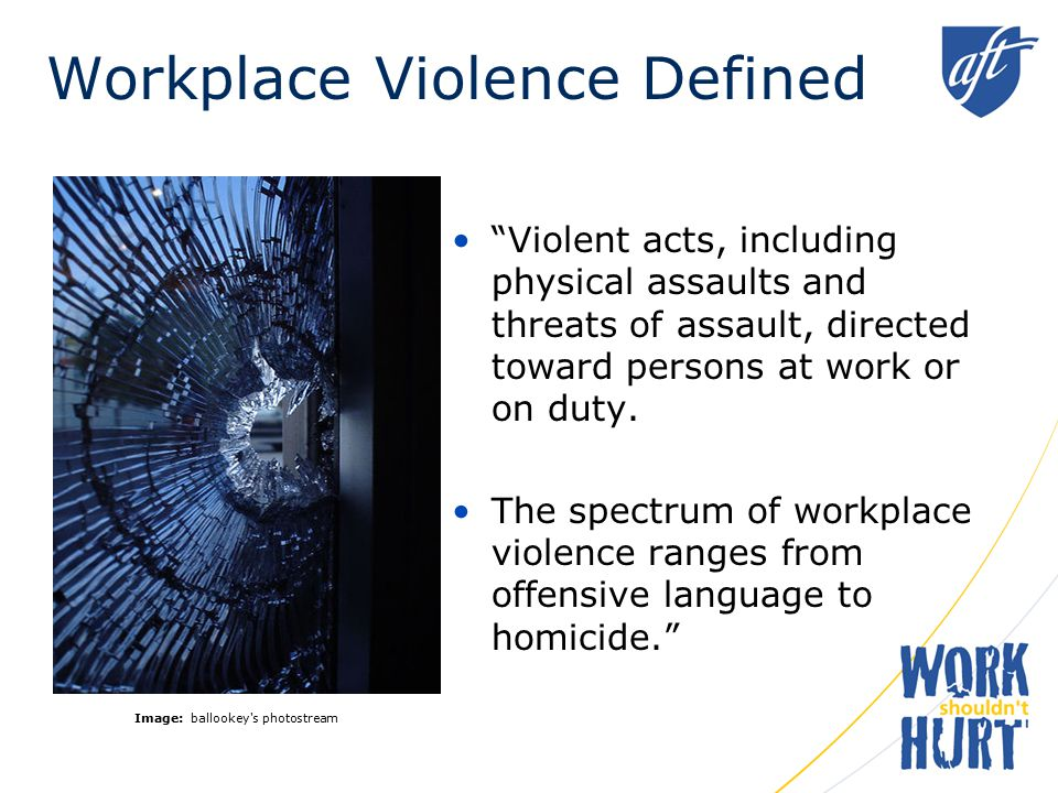 Examples of Workplace Violence –Threatening behavior – shaking fists, destroying property, vandalism, sabotage, theft, throwing objects.