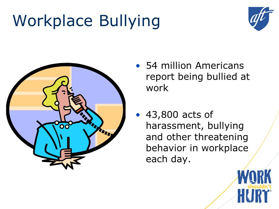 Workplace Bullying 54 million Americans report being bullied at work 43,800 acts of harassment, bullying and other threatening behavior in workplace each day.