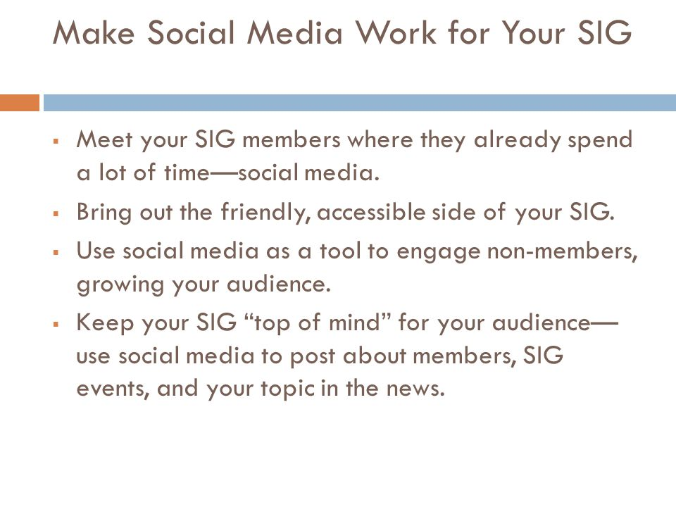 Make Social Media Work for Your SIG  Meet your SIG members where they already spend a lot of time—social media.  Bring out the friendly, accessible