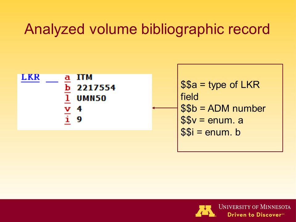 Analyzed volume bibliographic record $$a = type of LKR field $$b = ADM number $$v = enum. a $$i = enum. b