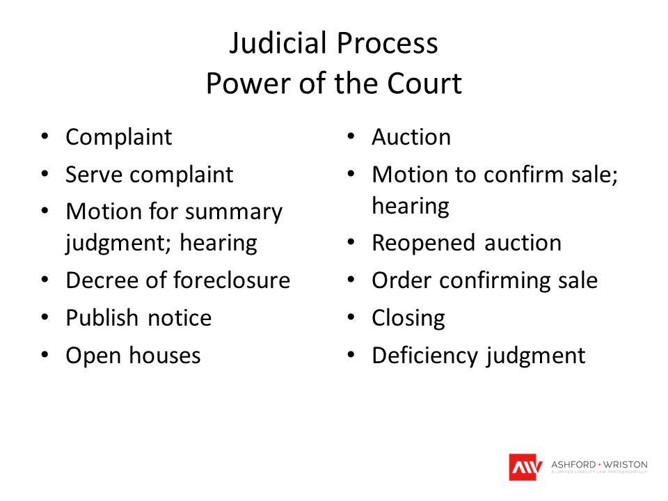 Judicial Process Power of the Court Complaint Serve complaint Motion for summary judgment; hearing Decree of foreclosure Publish notice Open houses Au
