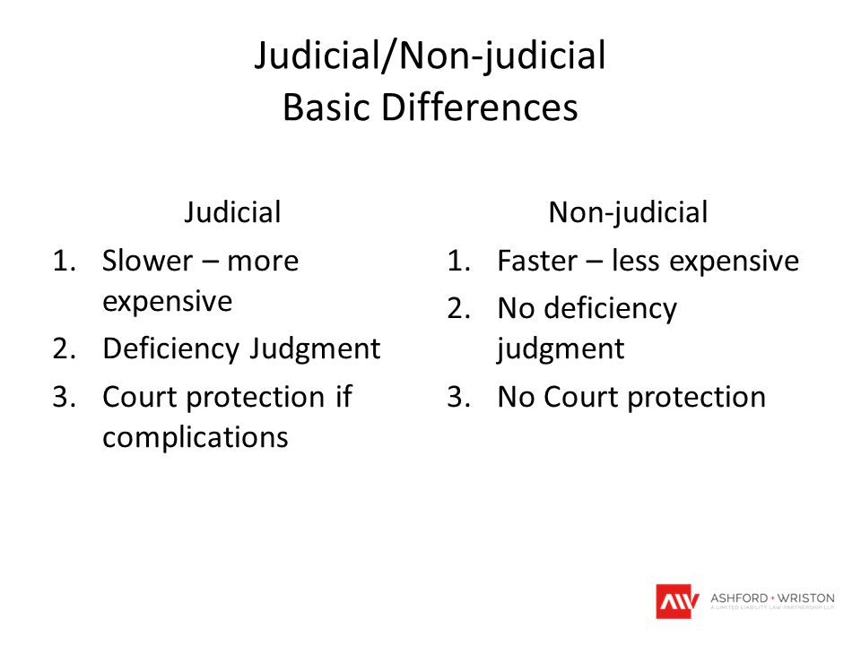 Judicial/Non-judicial Basic Differences Judicial 1.Slower – more expensive 2.Deficiency Judgment 3.Court protection if complications Non-judicial 1.Faster – less expensive 2.No deficiency judgment 3.No Court protection