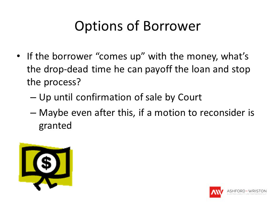 Options of Borrower If the borrower comes up with the money, what's the drop-dead time he can payoff the loan and stop the process.