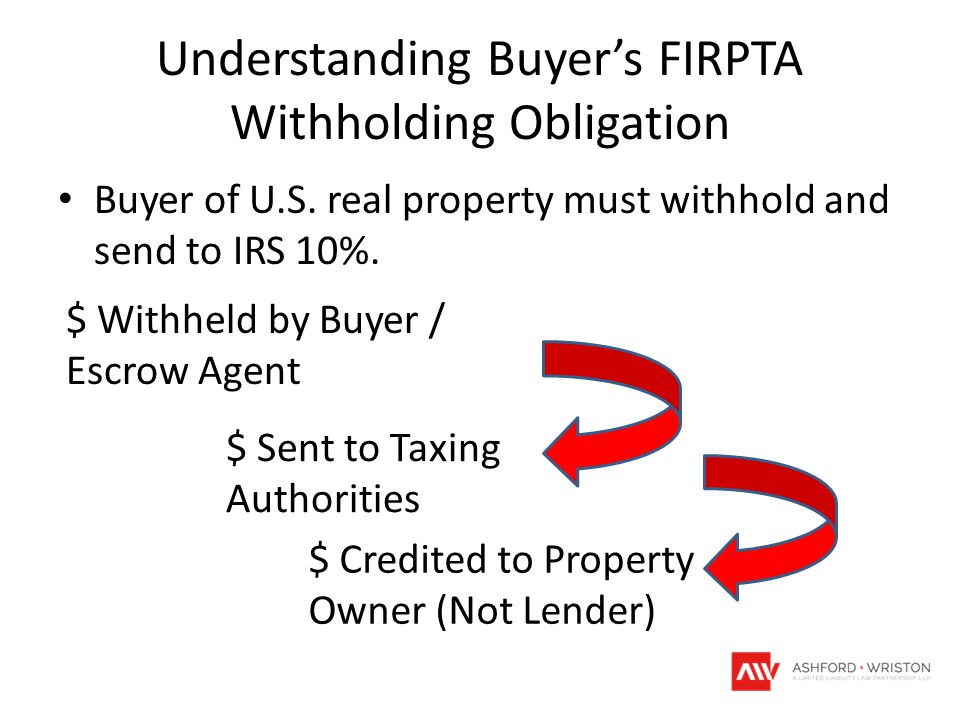 Understanding Buyer's FIRPTA Withholding Obligation Buyer of U.S.