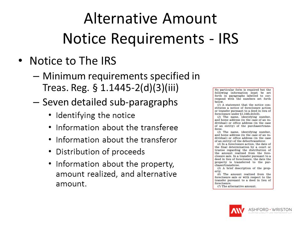 Alternative Amount Notice Requirements - IRS Notice to The IRS – Minimum requirements specified in Treas.