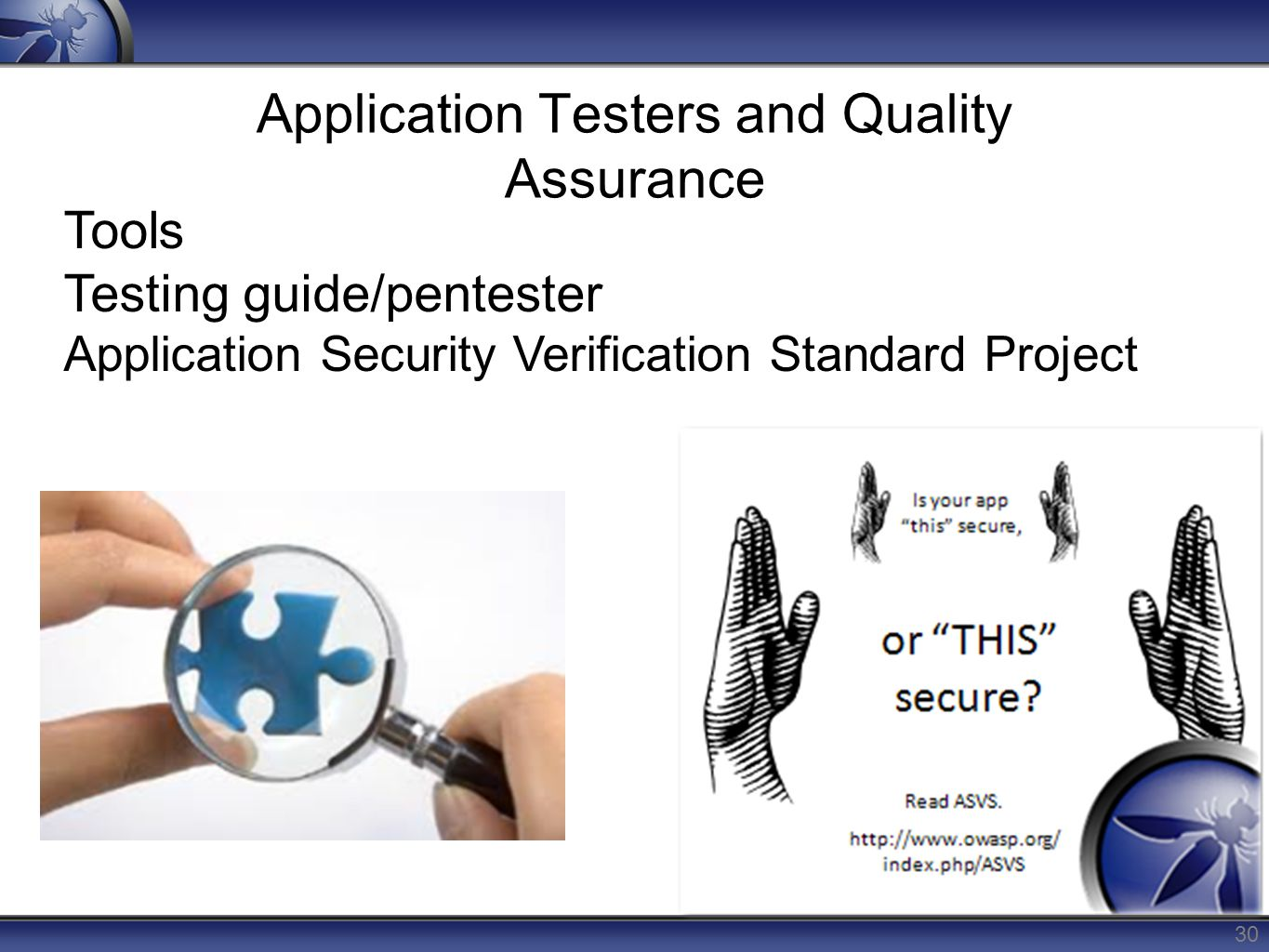 Application Testers and Quality Assurance 30 Tools Testing guide/pentester Application Security Verification Standard Project