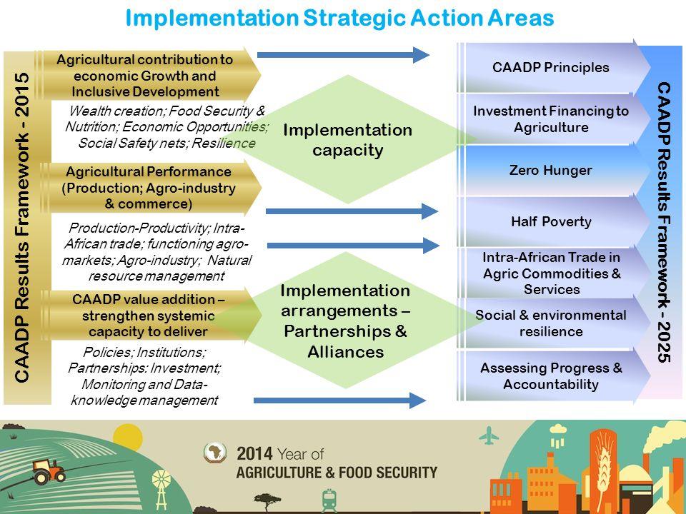 CAADP Results Framework - 2025 Implementation Strategic Action Areas CAADP Results Framework - 2015 Wealth creation; Food Security & Nutrition; Econom