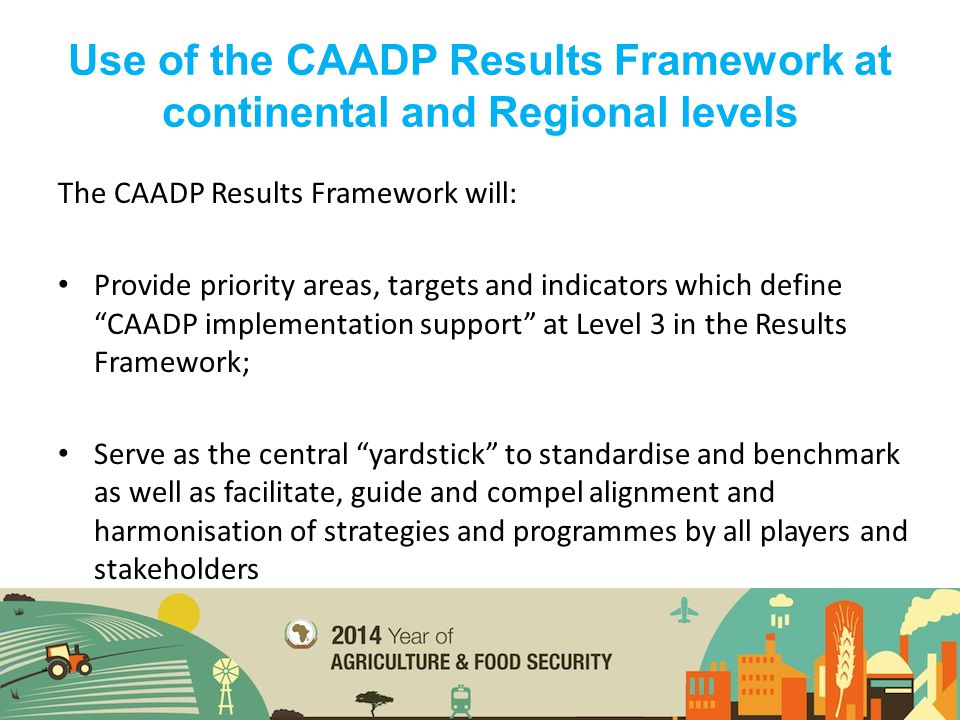 """The CAADP Results Framework will: Provide priority areas, targets and indicators which define """"CAADP implementation support"""" at Level 3 in the Results"""