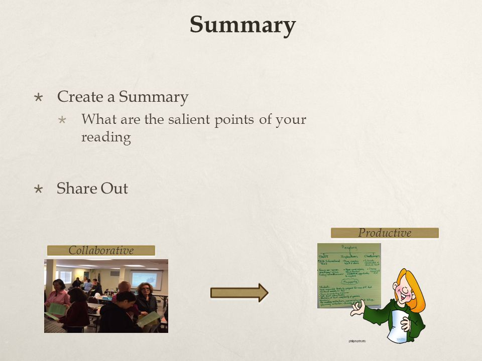 Summary  Create a Summary  What are the salient points of your reading  Share Out Collaborative Productive