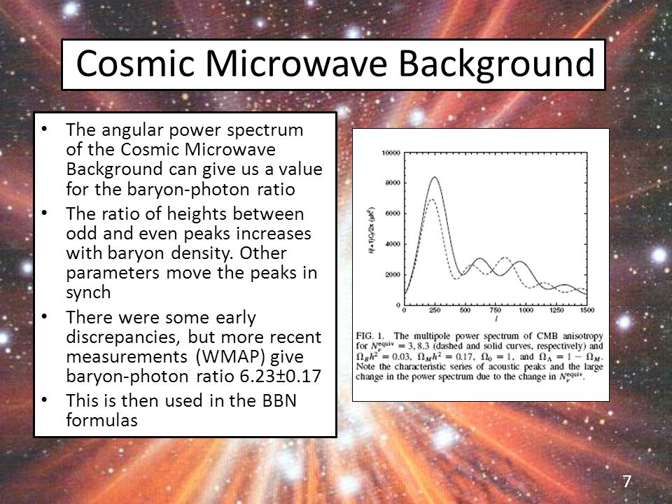 Cosmic Microwave Background The angular power spectrum of the Cosmic Microwave Background can give us a value for the baryon-photon ratio The ratio of