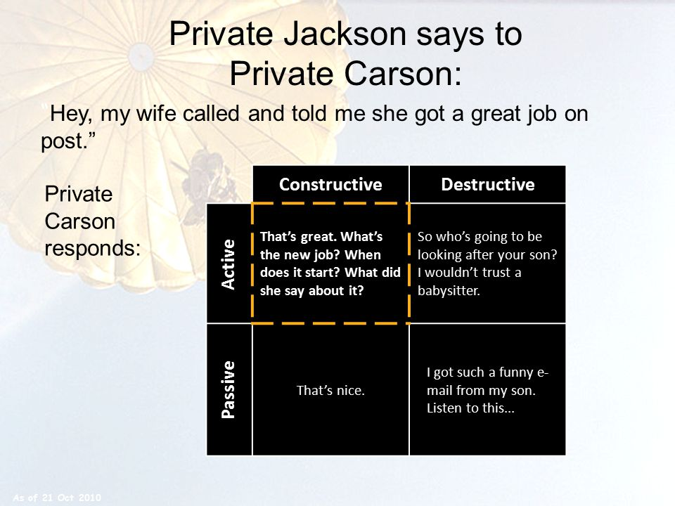 "Private Jackson says to Private Carson: "" Hey, my wife called and told me she got a great job on post."" ConstructiveDestructive That's great. What's t"