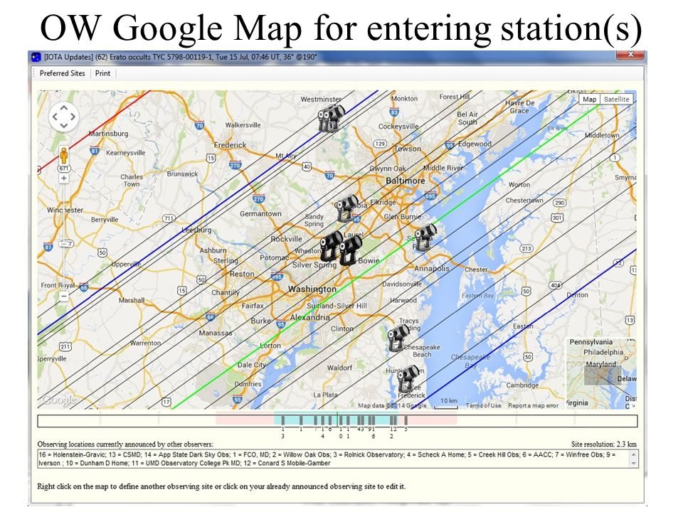 OW Google Map for entering station(s)