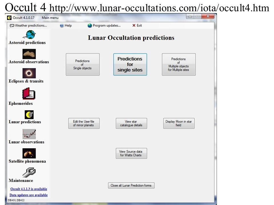 Occult 4 http://www.lunar-occultations.com/iota/occult4.htm