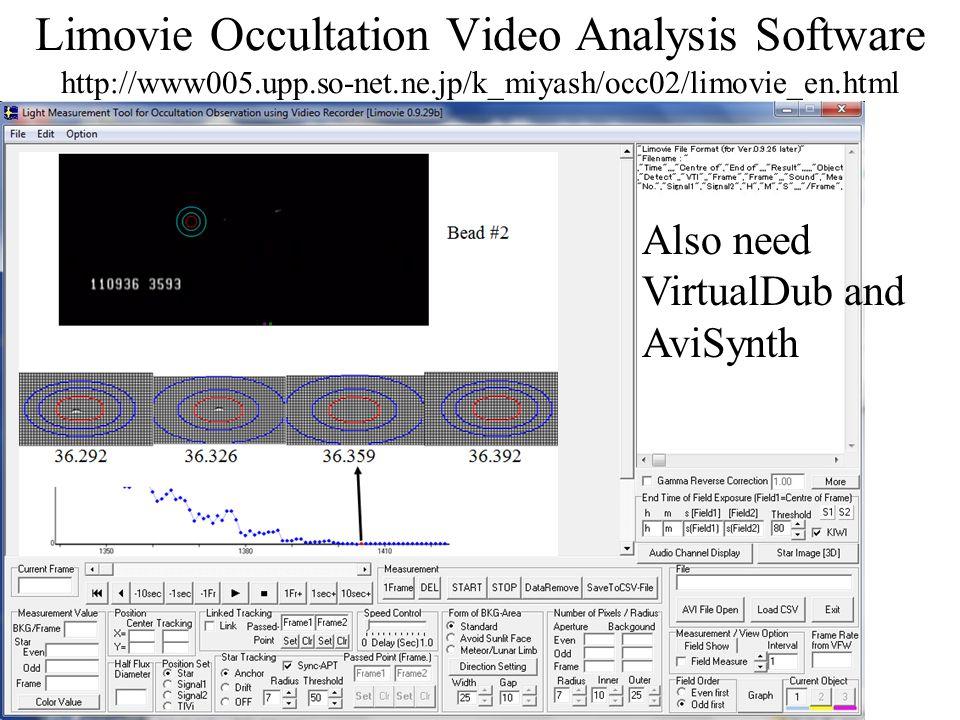 Limovie Occultation Video Analysis Software http://www005.upp.so-net.ne.jp/k_miyash/occ02/limovie_en.html Also need VirtualDub and AviSynth
