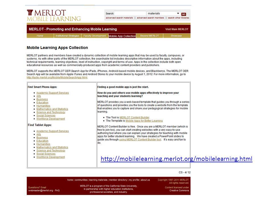 http://mobilelearning.merlot.org/mobilelearning.html