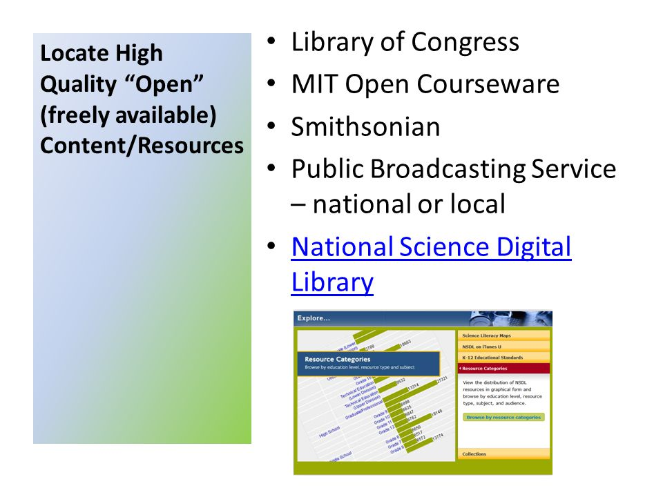 Library of Congress MIT Open Courseware Smithsonian Public Broadcasting Service – national or local National Science Digital Library National Science Digital Library Locate High Quality Open (freely available) Content/Resources