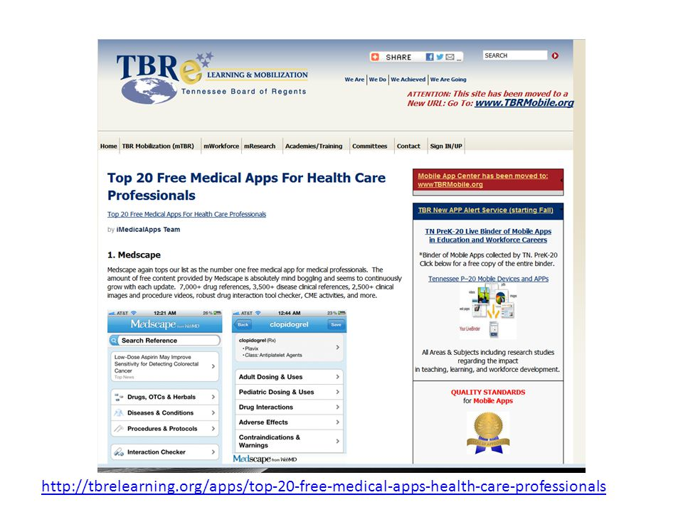 http://tbrelearning.org/apps/top-20-free-medical-apps-health-care-professionals