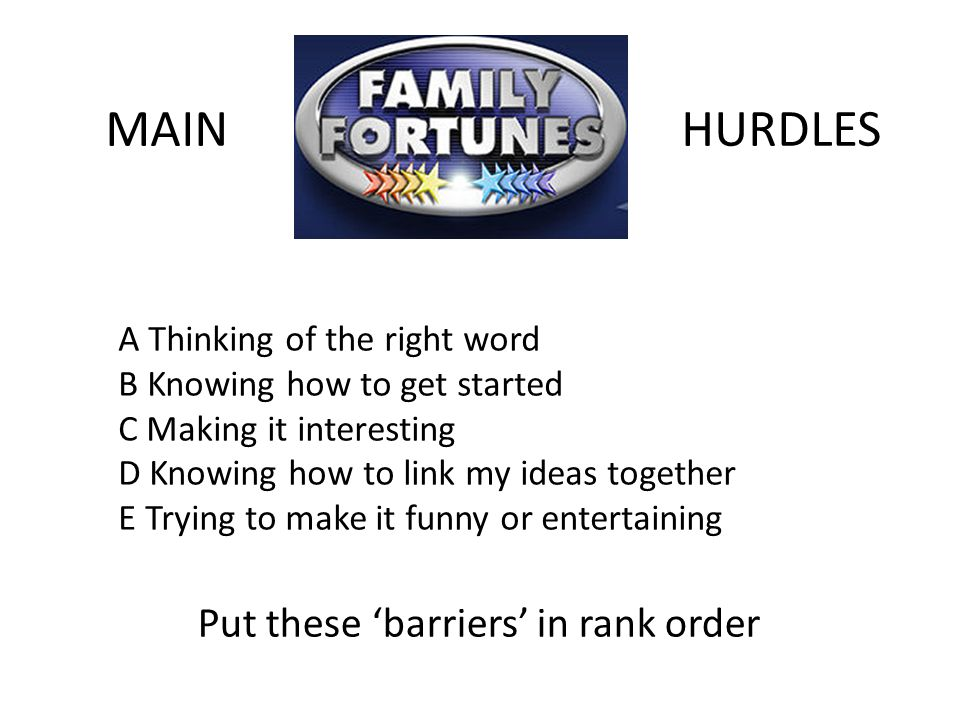 MAINHURDLES A Thinking of the right word B Knowing how to get started C Making it interesting D Knowing how to link my ideas together E Trying to make it funny or entertaining Put these 'barriers' in rank order
