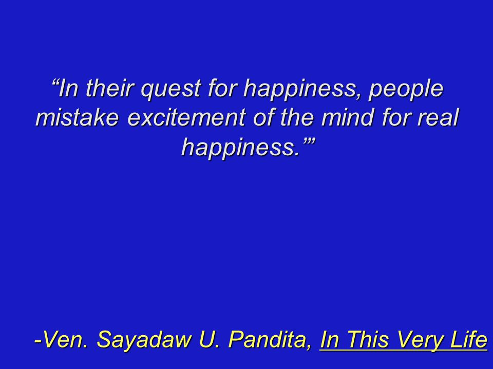 In their quest for happiness, people mistake excitement of the mind for real happiness.' -Ven.