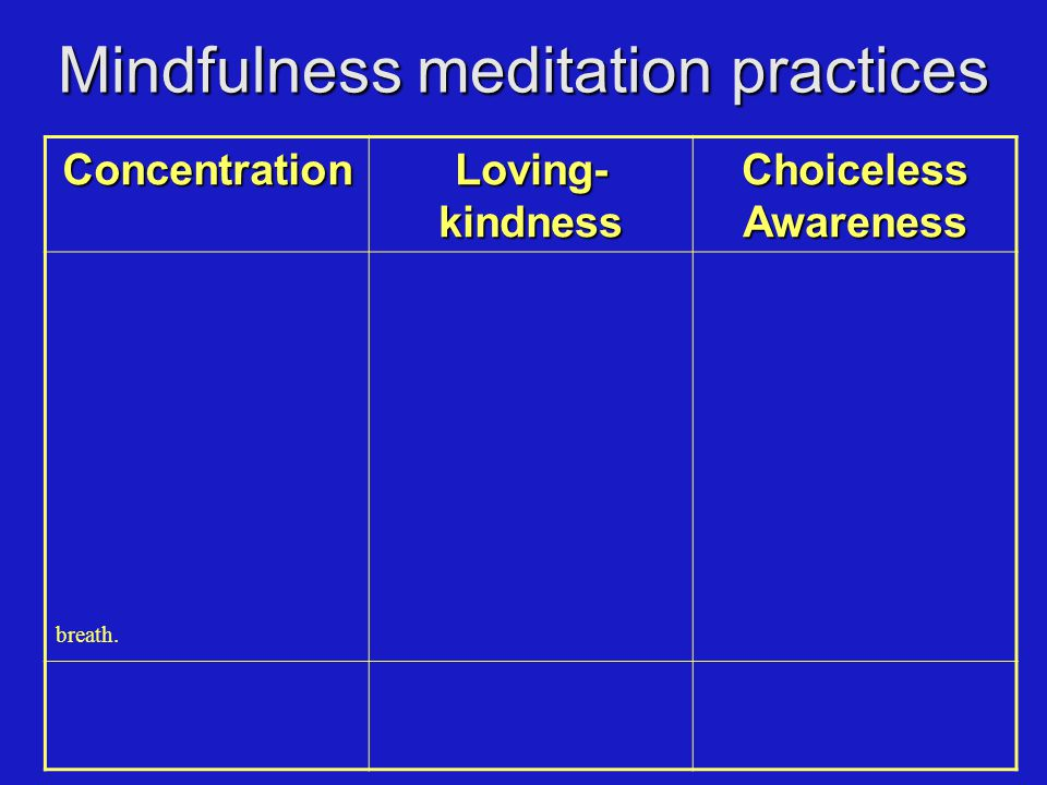 Mindfulness meditation practices Concentration Loving- kindness Choiceless Awareness In the next period, please pay attention to the physical sensation of the breath wherever you feel it most strongly in the body.