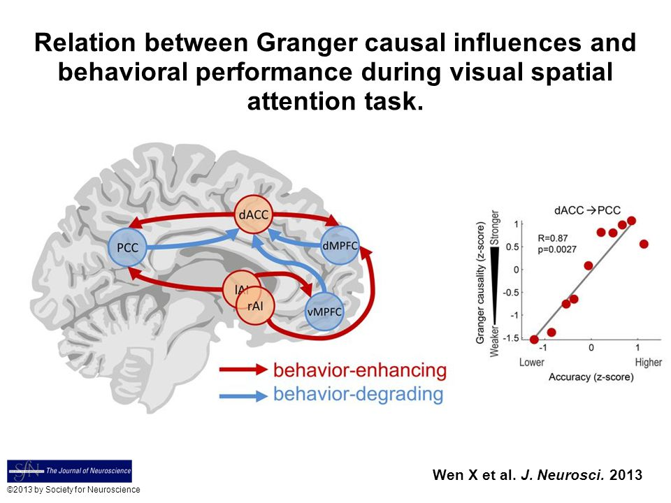 Relation between Granger causal influences and behavioral performance during visual spatial attention task.
