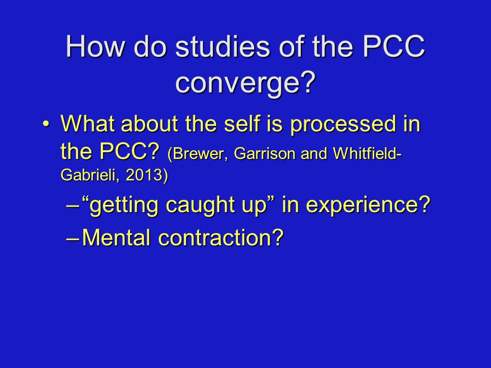 How do studies of the PCC converge. What about the self is processed in the PCC.