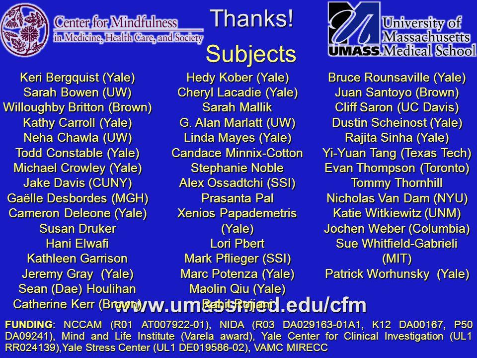 Thanks! www.umassmed.edu/cfm FUNDING: NCCAM (R01 AT007922-01), NIDA (R03 DA029163-01A1, K12 DA00167, P50 DA09241), Mind and Life Institute (Varela awa