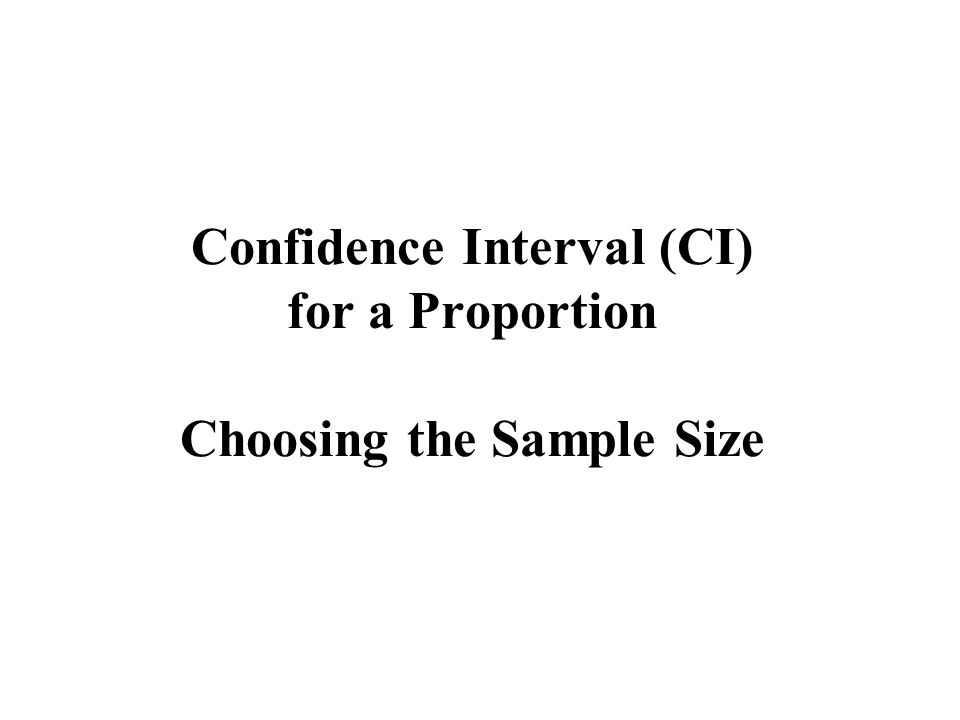 Confidence Interval (CI) for a Proportion Choosing the Sample Size