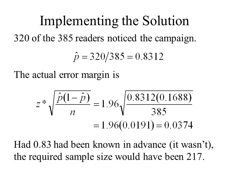 Implementing the Solution 320 of the 385 readers noticed the campaign.