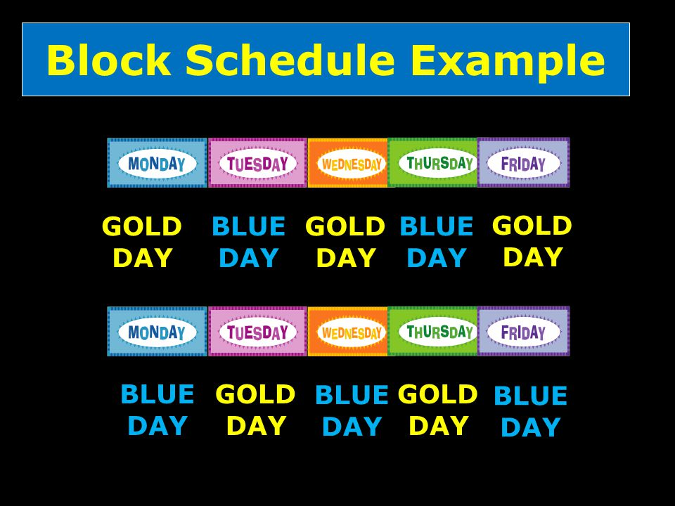 Block Schedule Example GOLD DAY BLUE DAY GOLD DAY BLUE DAY