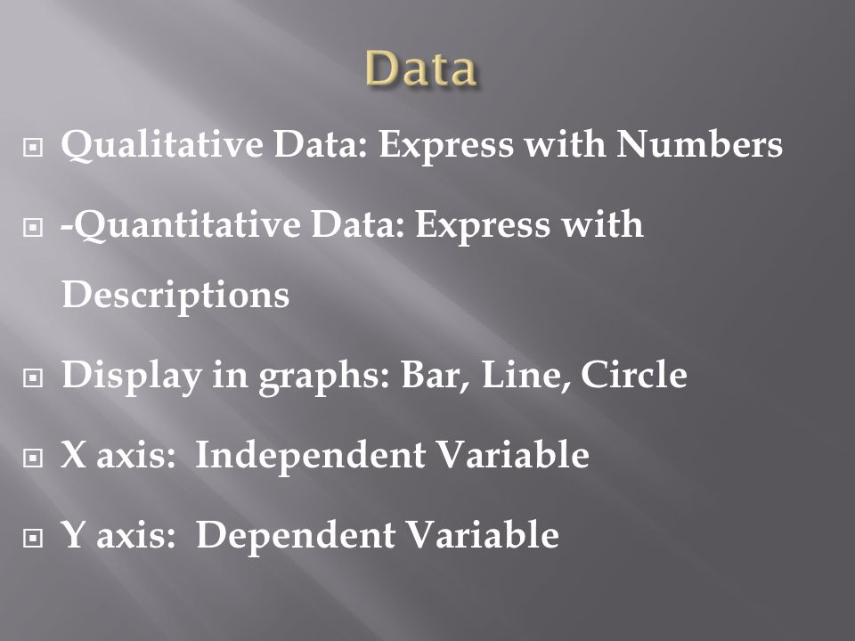  Qualitative Data: Express with Numbers  -Quantitative Data: Express with Descriptions  Display in graphs: Bar, Line, Circle  X axis: Independent Variable  Y axis: Dependent Variable