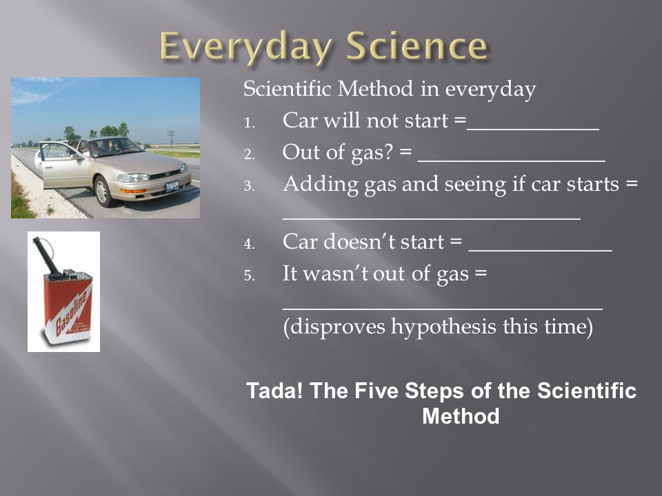 Scientific Method in everyday 1.Car will not start =____________ 2.