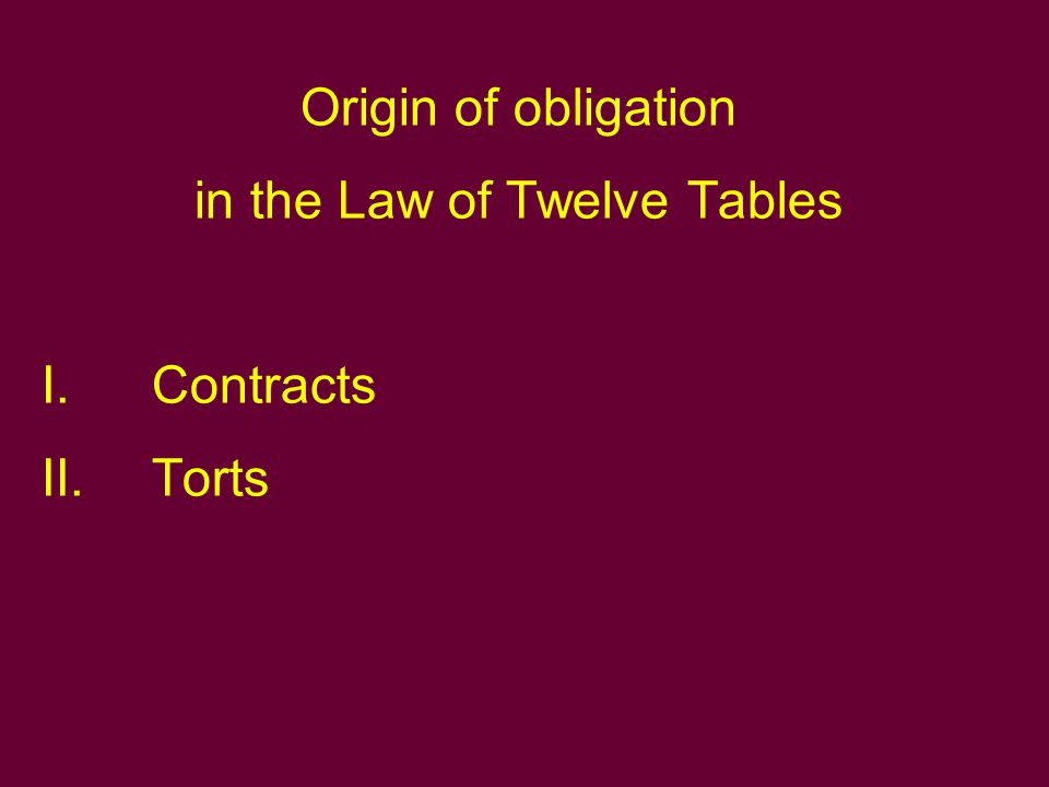 Origin of obligation in Gaius's Res cottidianae I.Contracts II.Torts III.Various types of causes.