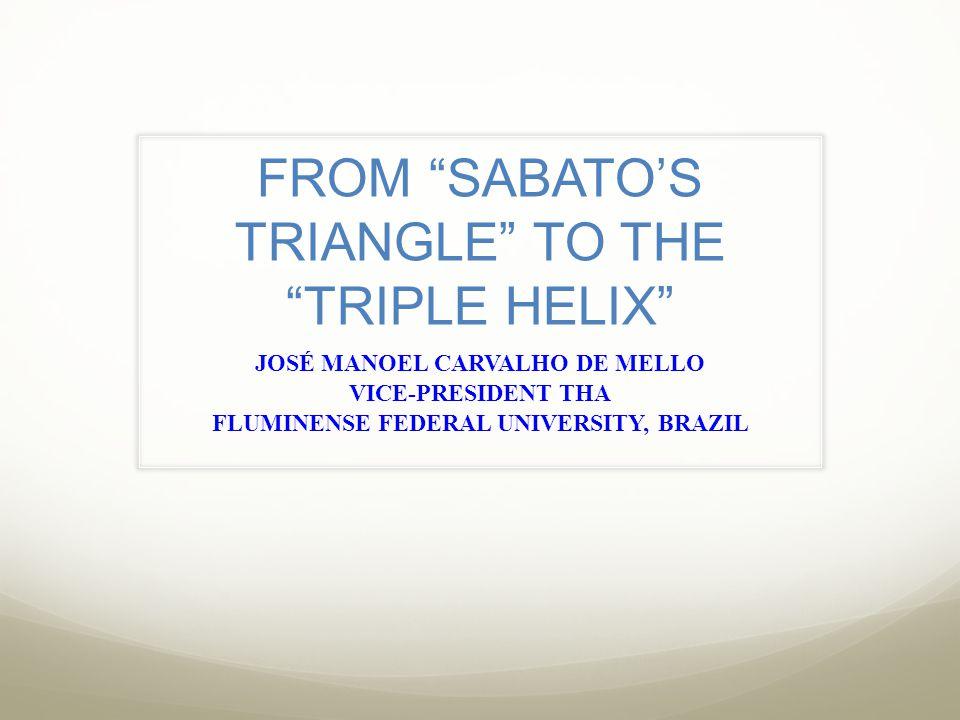 FROM SABATO'S TRIANGLE TO THE TRIPLE HELIX JOSÉ MANOEL CARVALHO DE MELLO VICE-PRESIDENT THA FLUMINENSE FEDERAL UNIVERSITY, BRAZIL