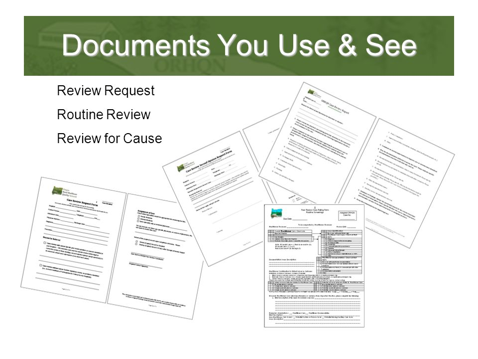 Documents You Use & See Review Request Routine Review Review for Cause