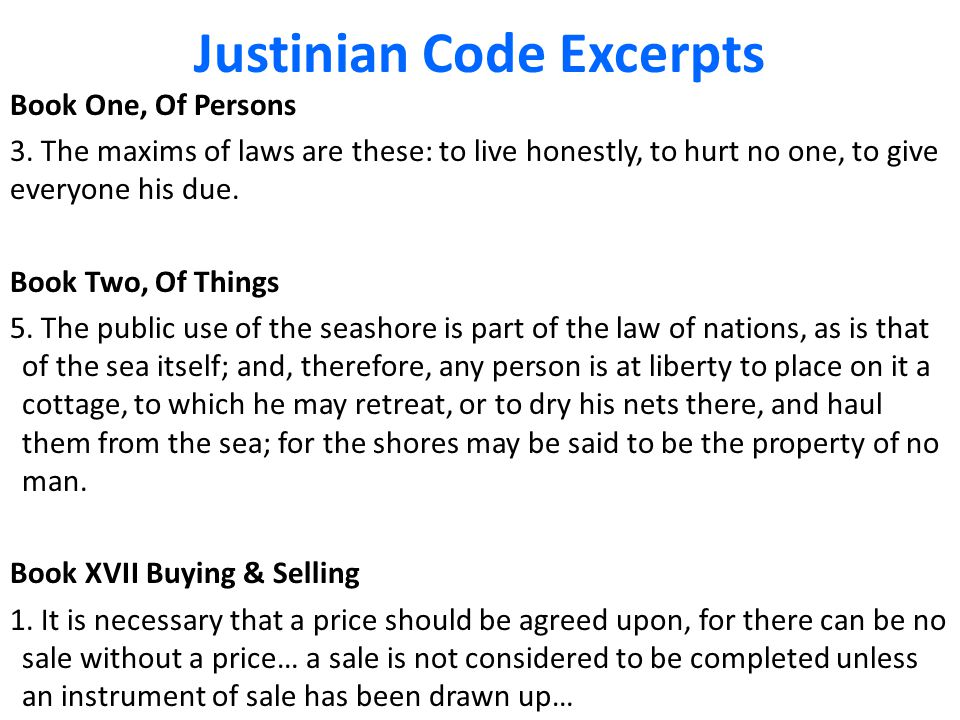 Justinian Code Excerpts Book One, Of Persons 3.