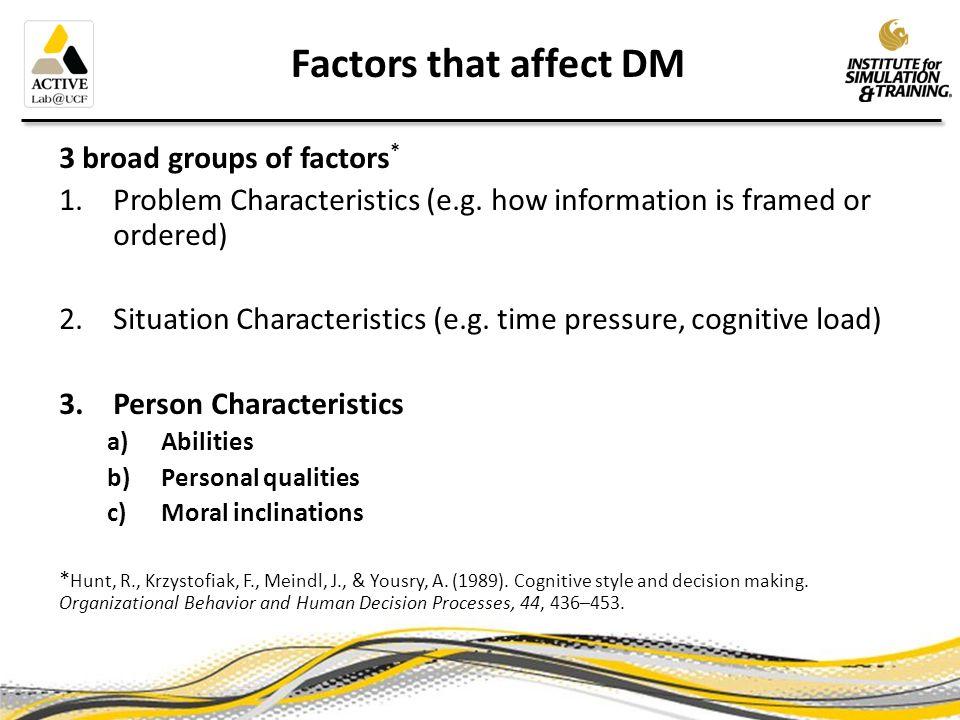 Person Characteristics that affect DM 1.