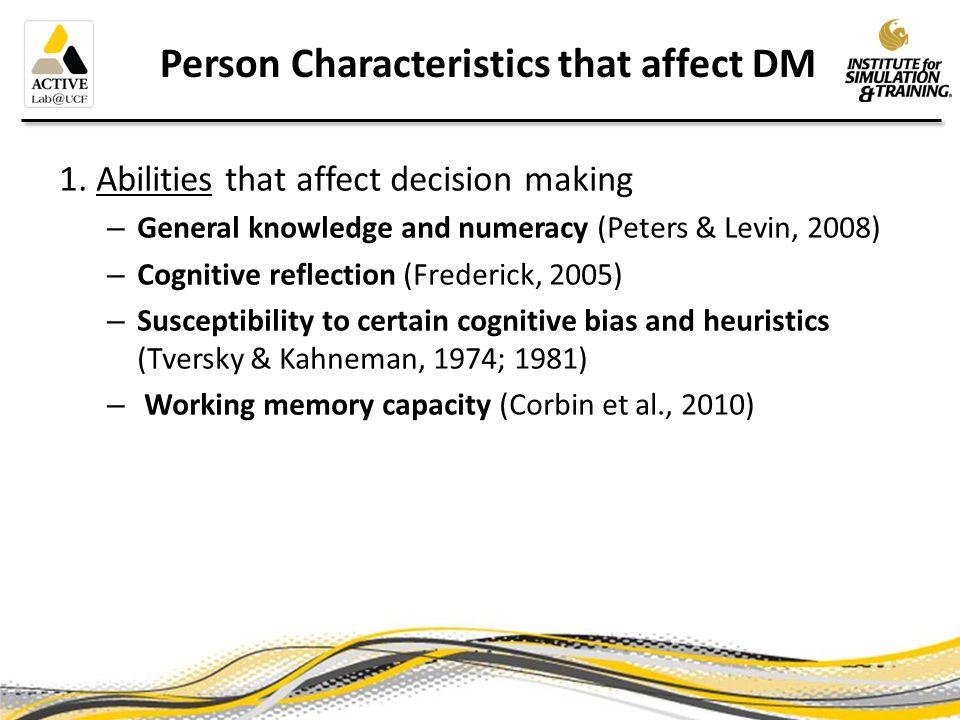 Person Characteristics that affect DM 2.