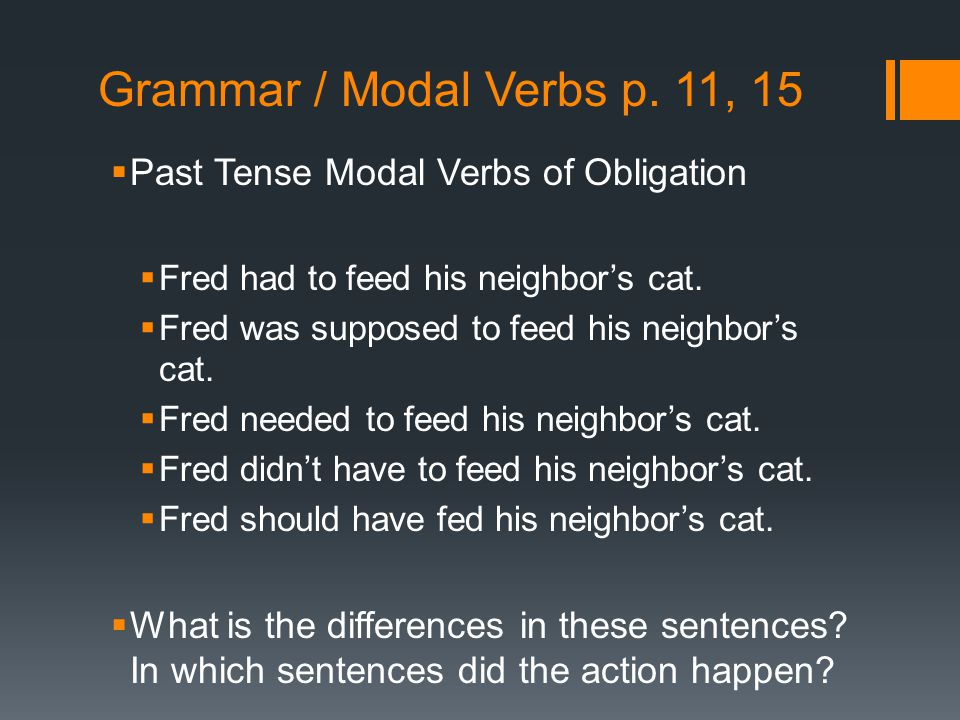 Grammar / Modal Verbs p. 11, 15  Past Tense Modal Verbs of Obligation  Fred had to feed his neighbor's cat.  Fred was supposed to feed his neighbor