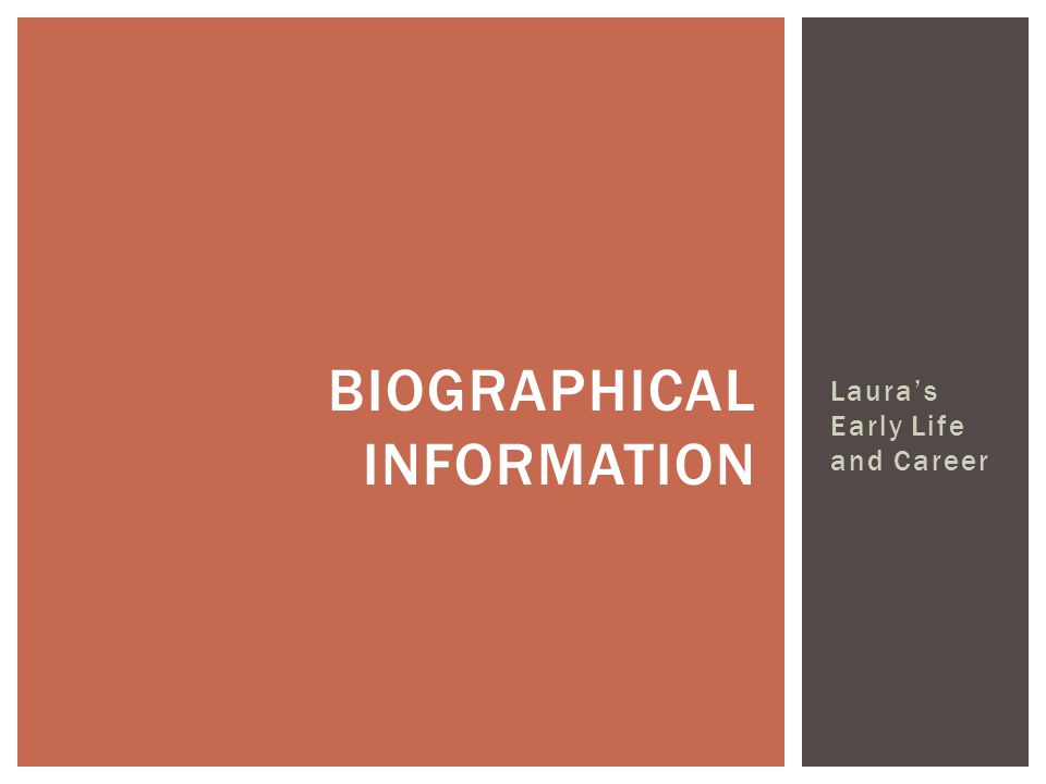 Laura's Early Life and Career BIOGRAPHICAL INFORMATION