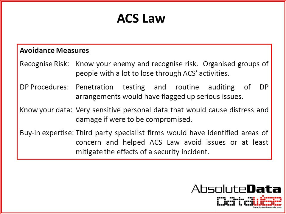 ACS Law Avoidance Measures Recognise Risk: Know your enemy and recognise risk. Organised groups of people with a lot to lose through ACS' activities.