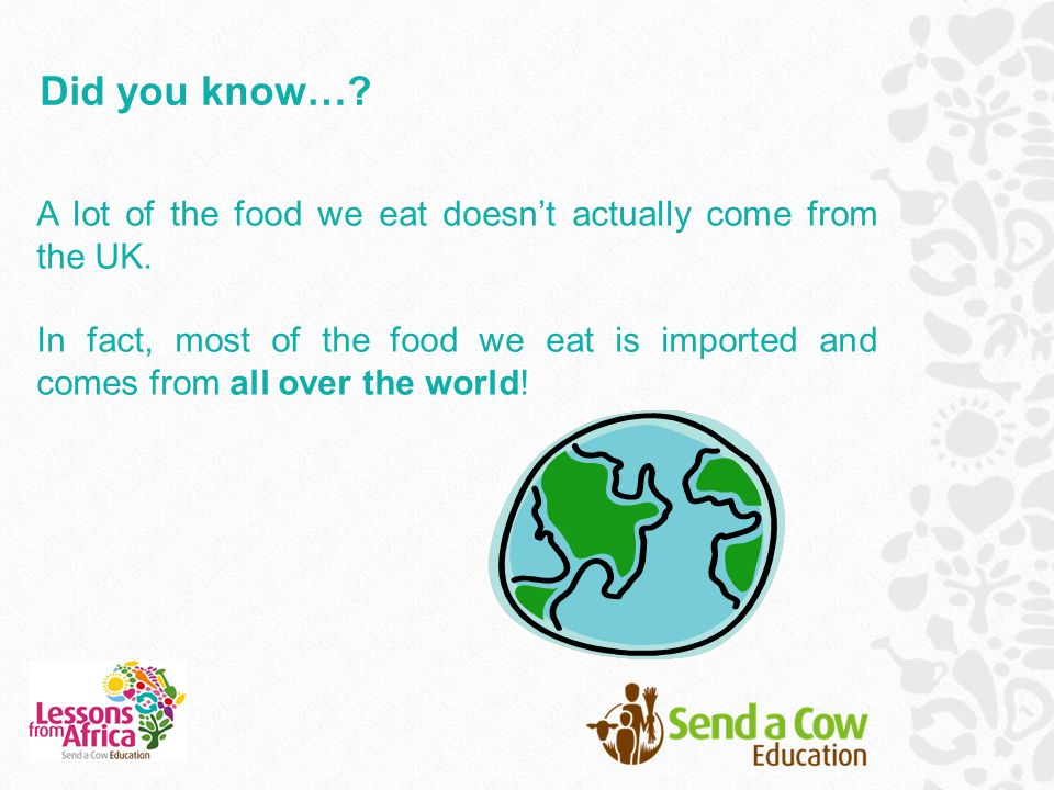Did you know…. A lot of the food we eat doesn't actually come from the UK.