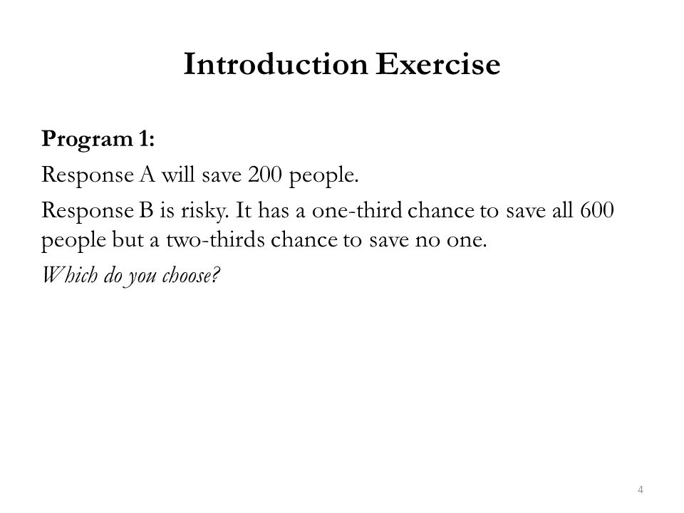 Introduction Exercise Program 1: Response A will save 200 people.
