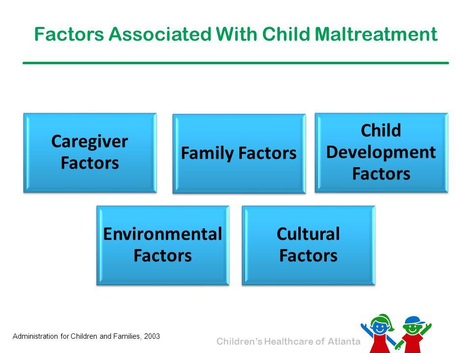 Children's Healthcare of Atlanta Factors Associated With Child Maltreatment Caregiver Factors Family Factors Child Development Factors Environmental F
