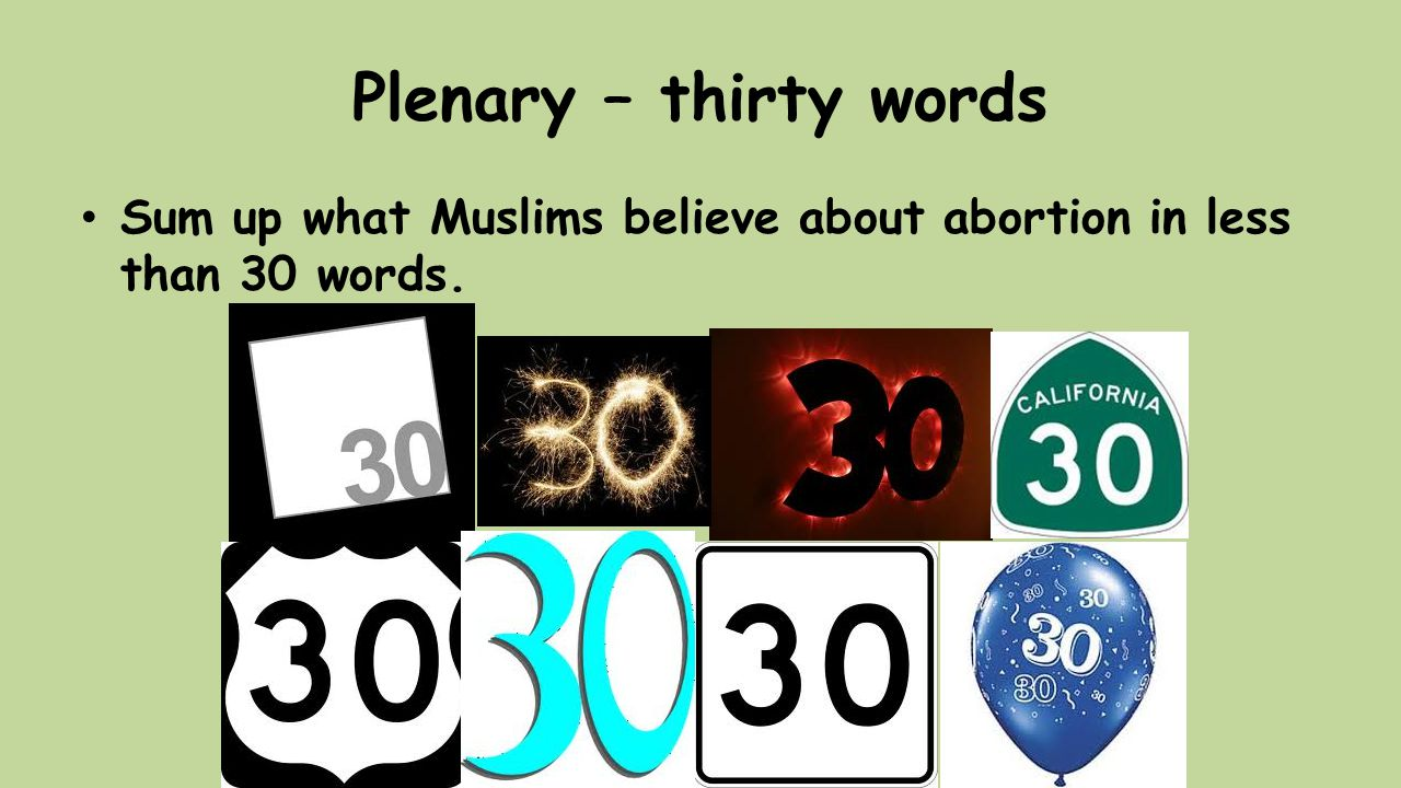 Plenary – thirty words Sum up what Muslims believe about abortion in less than 30 words.