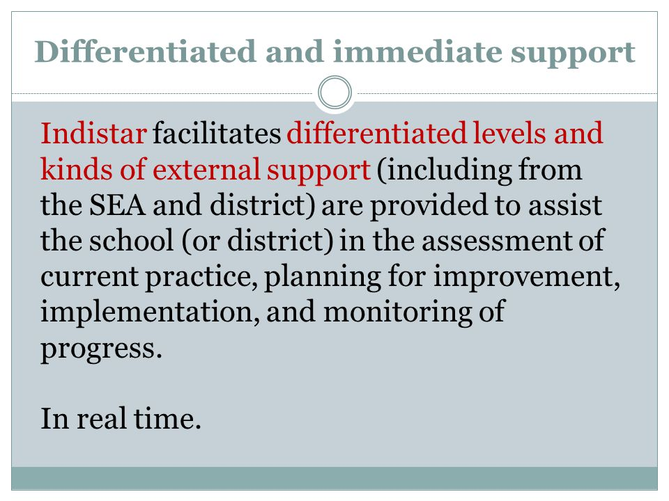 Differentiated and immediate support Indistar facilitates differentiated levels and kinds of external support (including from the SEA and district) are provided to assist the school (or district) in the assessment of current practice, planning for improvement, implementation, and monitoring of progress.