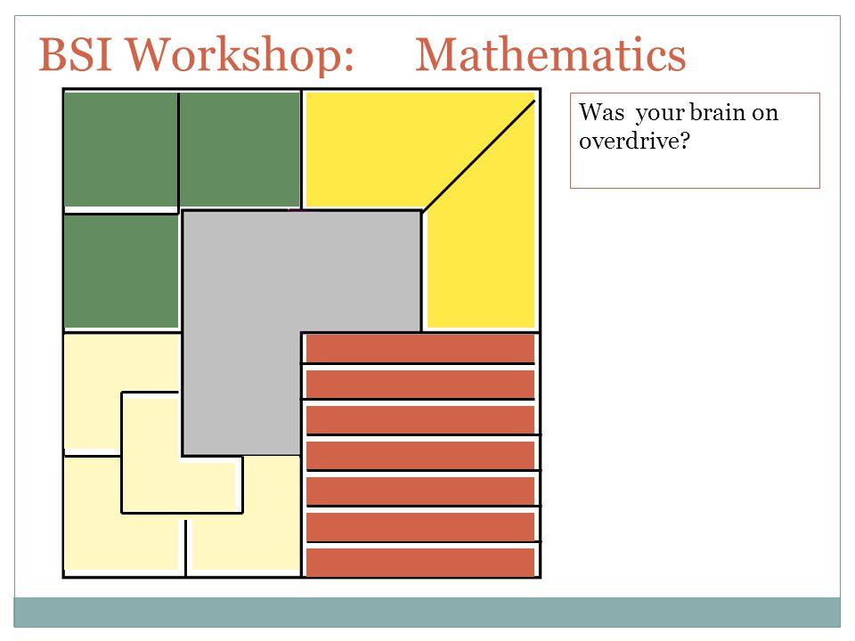 BSI Workshop: Mathematics Was your brain on overdrive?