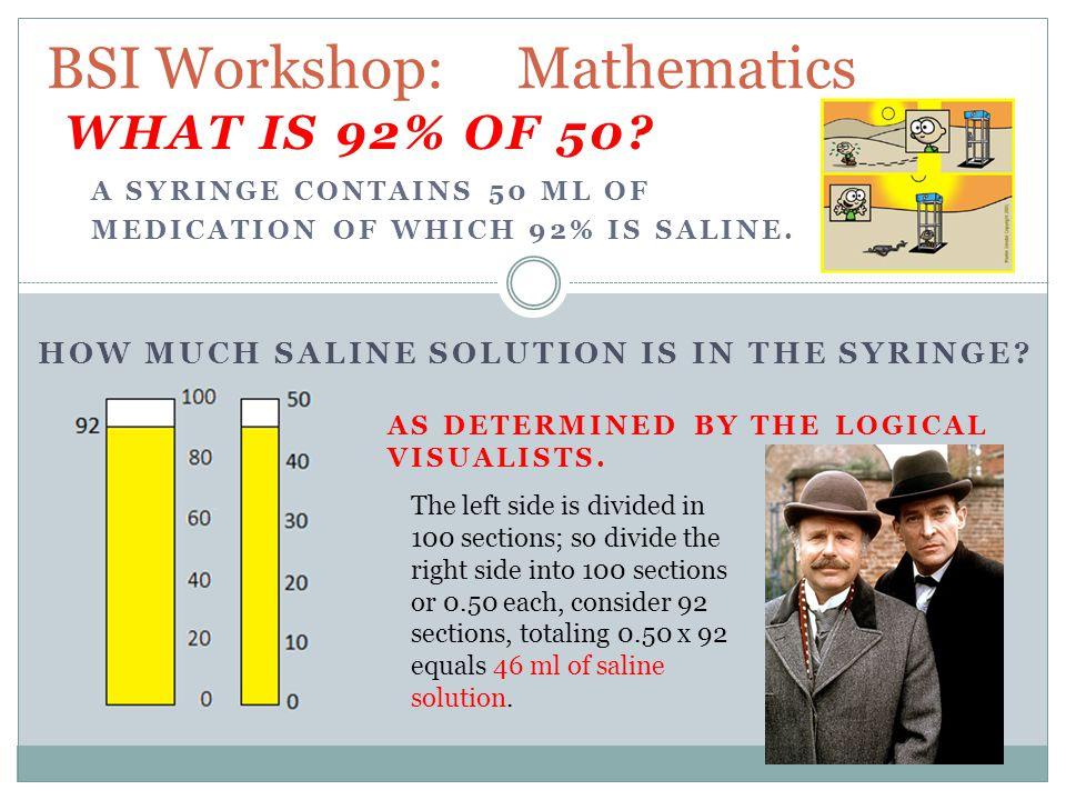BSI Workshop: Mathematics HOW MUCH SALINE SOLUTION IS IN THE SYRINGE.