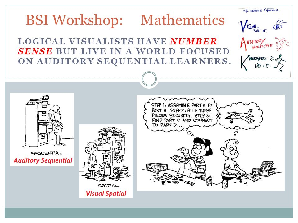 LOGICAL VISUALISTS HAVE NUMBER SENSE BUT LIVE IN A WORLD FOCUSED ON AUDITORY SEQUENTIAL LEARNERS.